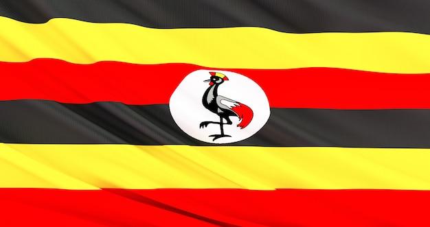Wapperende vlag van de stof van oeganda, zijde vlag van oeganda.