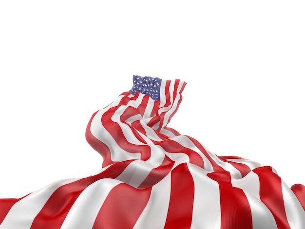 Wapperende vlag van de verenigde staten. 3d-weergave