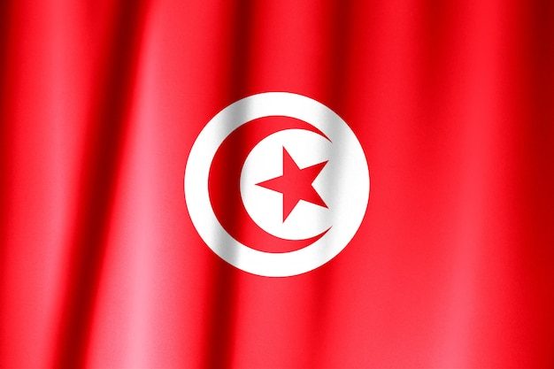 Wapperende vlag van tunesië. vlag heeft echte stoffentextuur.