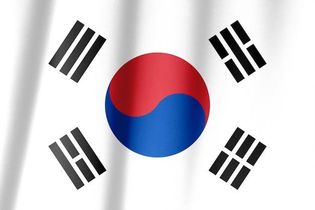 Wapperende vlag van zuid-korea in de wind