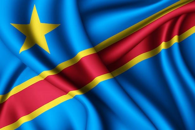 Wapperende zijden vlag van dr congo
