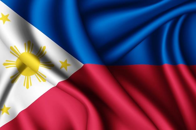 Wapperende zijden vlag van filipijnen