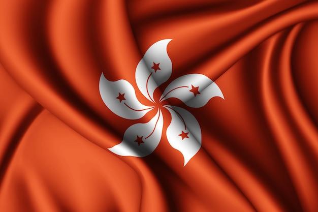 Wapperende zijden vlag van hong kong