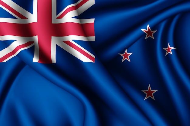 Wapperende zijden vlag van nieuw-zeeland