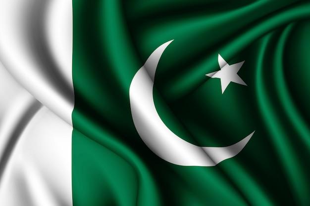 Wapperende zijden vlag van pakistan