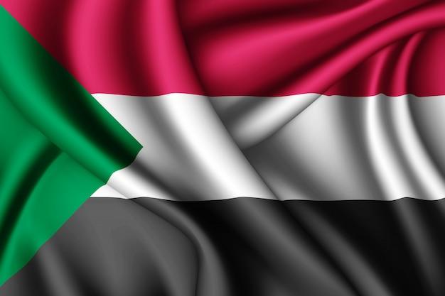 Wapperende zijden vlag van soedan