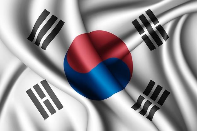 Wapperende zijden vlag van zuid-korea
