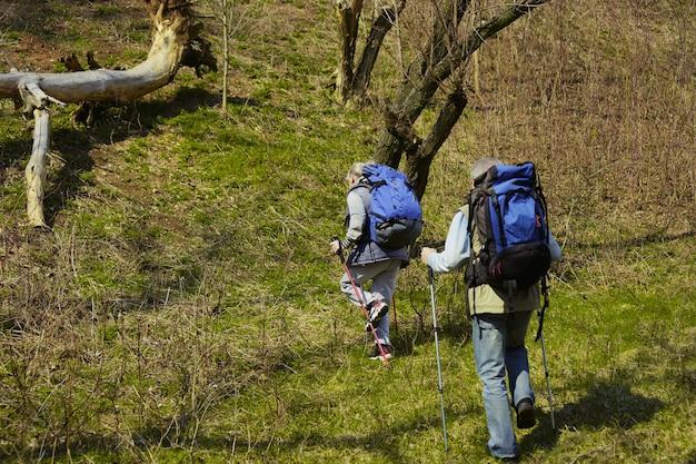 Ware liefde geeft kracht. leeftijd familie paar man en vrouw in toeristische outfit wandelen op groen gazon in de buurt van bomen in zonnige dag. concept van toerisme, gezonde levensstijl, ontspanning en saamhorigheid.