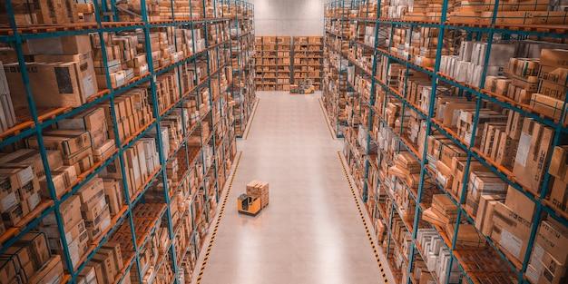 Warenhuis vol goederen. concept van industrie en logistiek. 3d render.