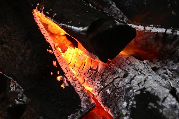 Warm licht van vlammen in open haard met hout.