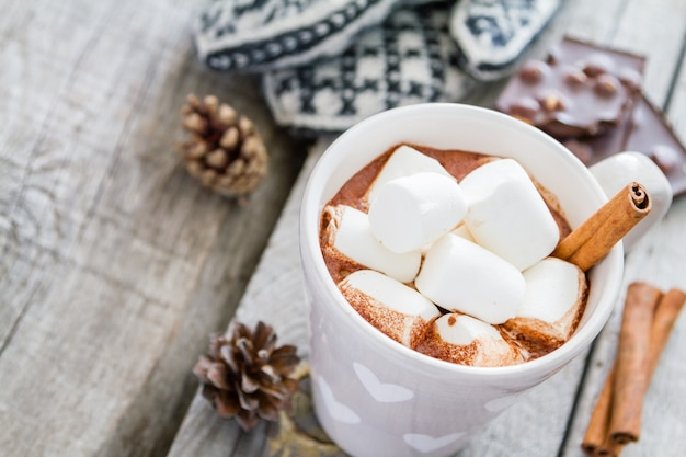 Warme chocolademelk met marshmallow en dennenappels