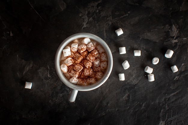 Warme chocolademelk met marshmallows en cacaopoeder