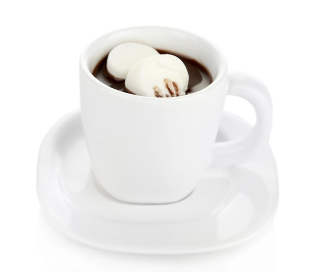 Warme chocolademelk met marshmallows in geïsoleerde mok