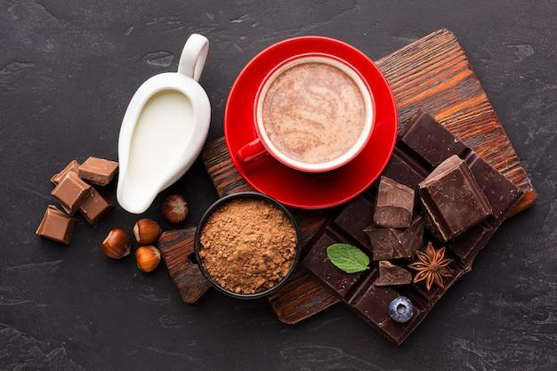 Warme chocolademelk met melk