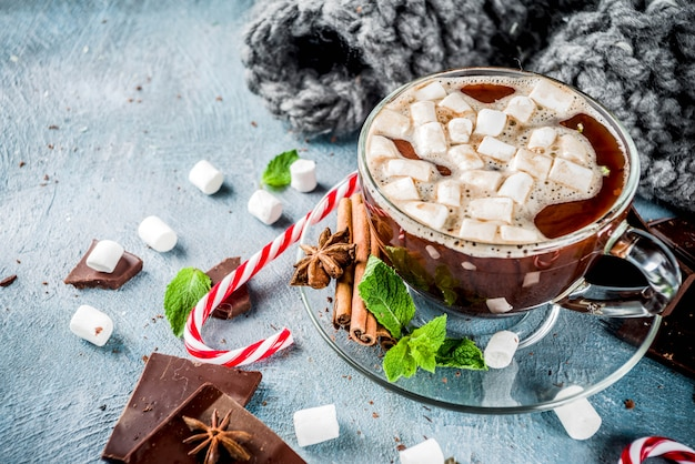 Warme chocolademelk met munt en marshmallow