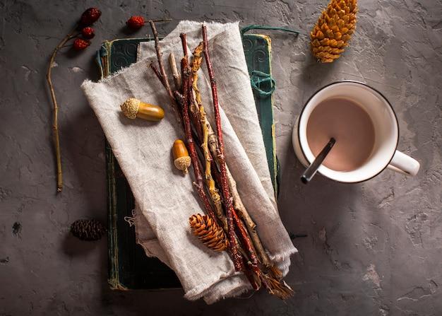 Warme chocolademelk met natuurlijke decoratie