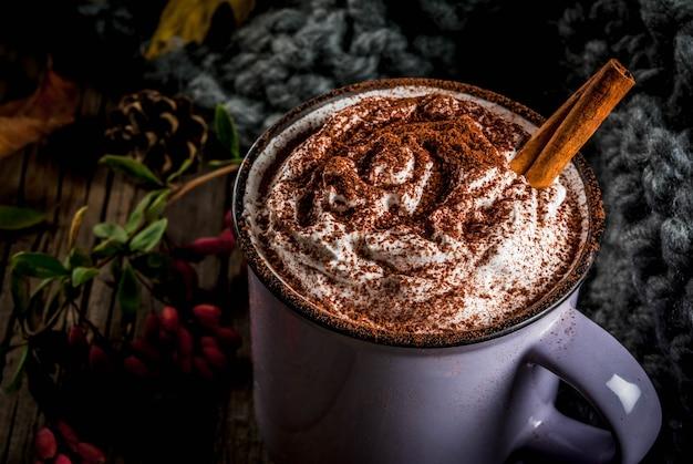 Warme chocolademelk met slagroom en kruiden