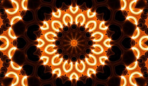 Warme gele caleidoscoop. herfst spiraal tie dye print. caleidoscopische textuur. zigeuner jurk. warme kleuren kleurenmix ontwerp. warme kleuren indonesisch stoffenontwerp. heldere hippies wervelen kleurrijk ontwerp.