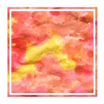 Warme gele hand getekende aquarel vierkante frame achtergrondstructuur met vlekken