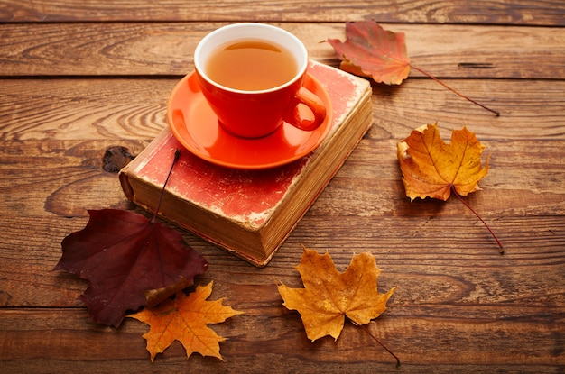 Warme kop thee met herfstbladeren