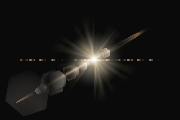 Warme lensflare met zeshoekig spookontwerpelement