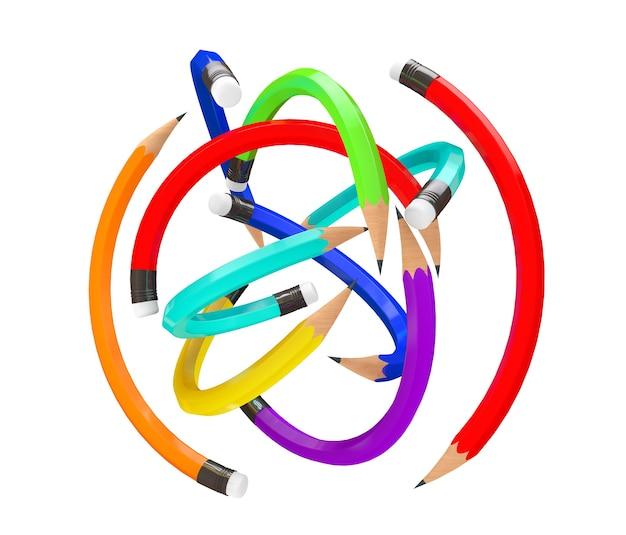 Warp multicolour pencils als bal op een witte achtergrond
