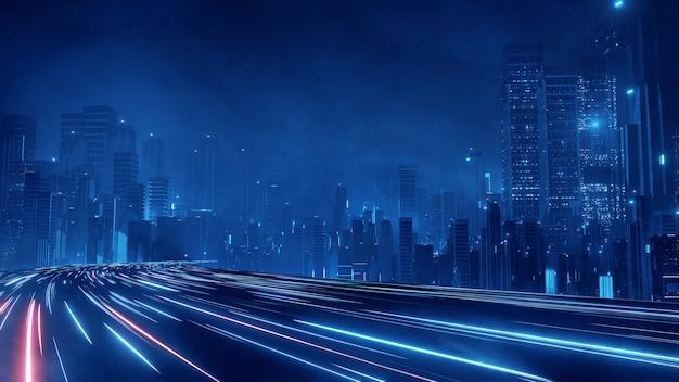 Warp speed hyper loop met licht van gebouwen in megastad 's nachts.