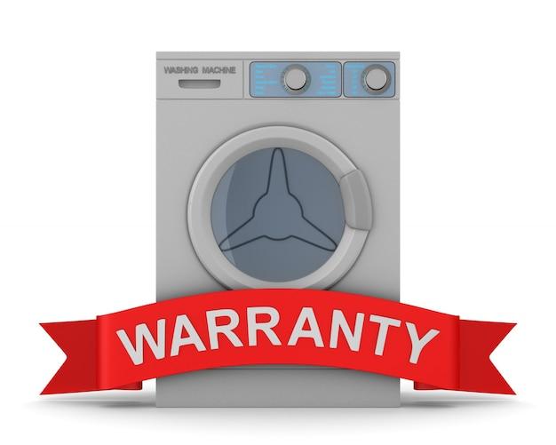 Wasmachine en rood lint met tekstgarantie op wit. geïsoleerde 3d-afbeelding