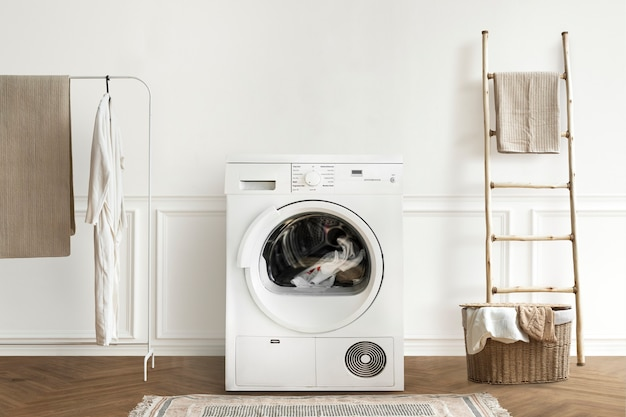 Wasmachine in een minimaal interieurontwerp voor wasruimte