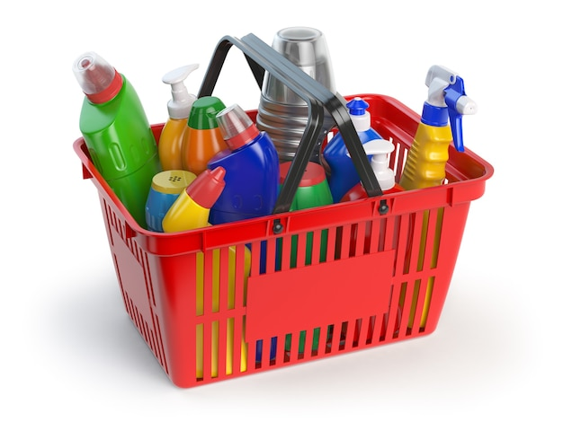 Wasmiddelflessen en benodigdheden in winkelmandje