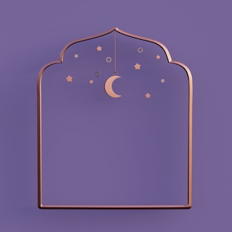 Wassende maan arabische lantaarn ramadan kareem mawlid iftar isra miraj 3d-rendering