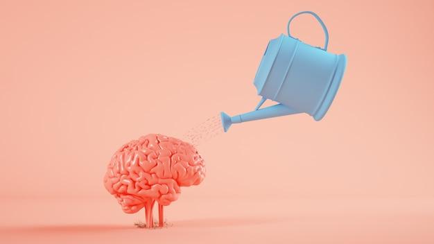 Water geven van een hersenen plant 3d-rendering concept