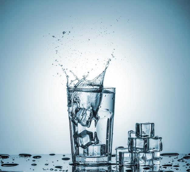 Water in glas met water splash