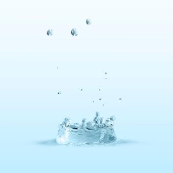Water splash op een blauw behang