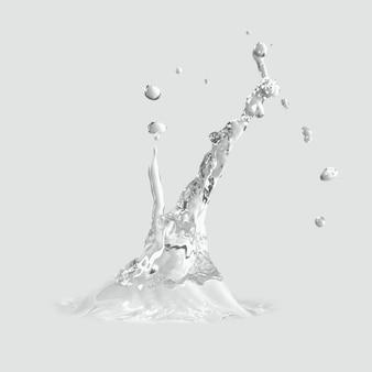 Water splash op een grijs