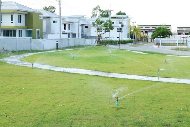 Water sprinkler spray water in park