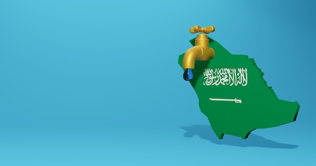 Watercrisis en droog seizoen in arabisch saoedi-arabië voor infographics en sociale media-inhoud in 3d-weergave