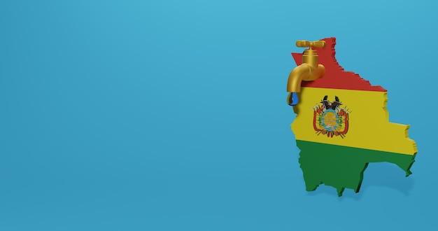 Watercrisis en droog seizoen in bolivia voor infographics en sociale media-inhoud in 3d-weergave