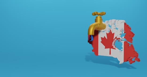 Watercrisis en droog seizoen in canada voor infographics in 3d-weergave