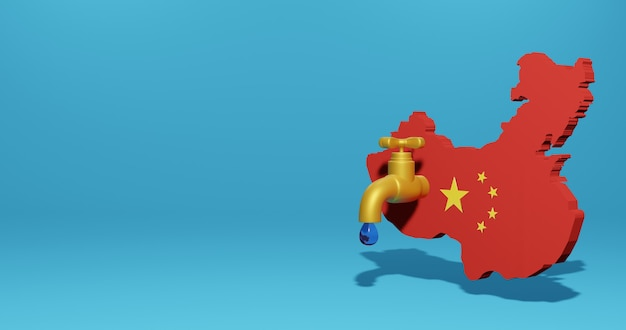 Watercrisis en droog seizoen in china voor infographics in 3d-weergave