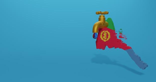 Watercrisis en droog seizoen in eritrea voor infographics in 3d-rendering