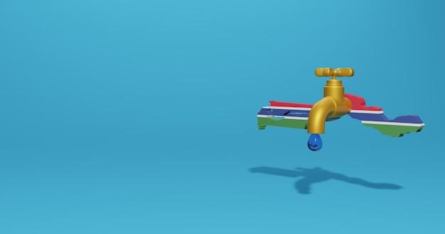 Watercrisis en droog seizoen in gambia voor infographics en sociale media-inhoud in 3d-weergave