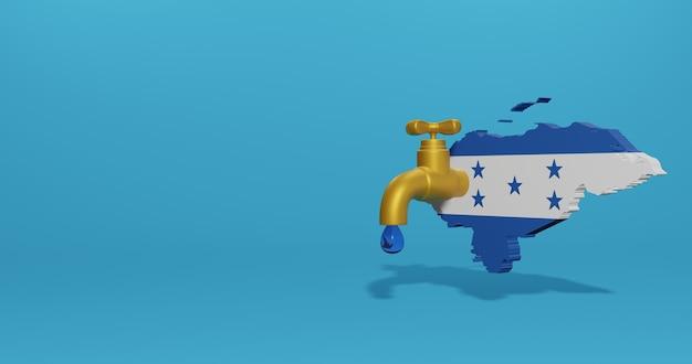 Watercrisis en droog seizoen in honduras voor infographics en sociale media-inhoud in 3d-weergave