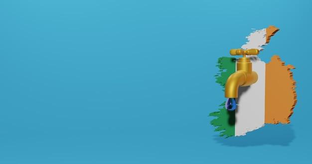 Watercrisis en droog seizoen in ierland voor infographics en sociale media-inhoud in 3d-weergave