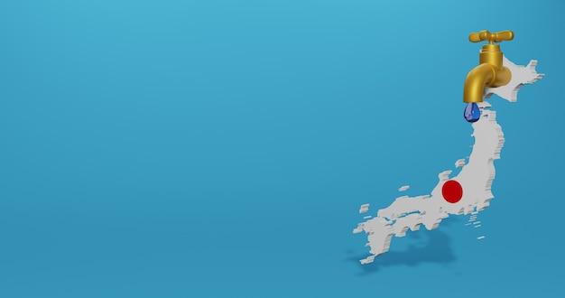 Watercrisis en droog seizoen in japan voor infographics in 3d-weergave