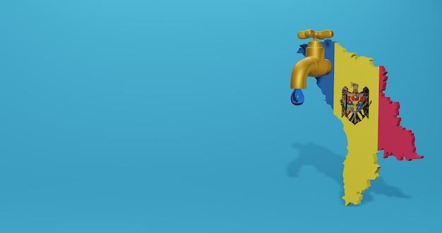 Watercrisis en droog seizoen in moldavië voor infographics en sociale media-inhoud in 3d-weergave