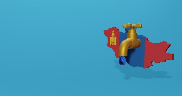 Watercrisis en droog seizoen in mongolië voor infographics en sociale media-inhoud in 3d-weergave