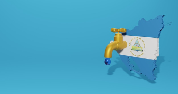Watercrisis en droog seizoen in nicaragua voor infographics en sociale media-inhoud in 3d-weergave