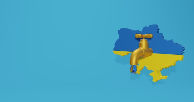 Watercrisis en droog seizoen in oekraïne voor infographics en sociale media-inhoud in 3d-weergave Premium Foto