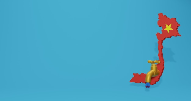 Watercrisis en droog seizoen in vietnam voor infographics en sociale media-inhoud in 3d-weergave